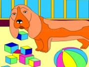 Play Kids coloring: the playful dog